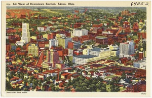 Air view of Downtown section, Akron, Ohio