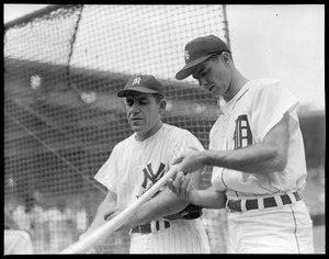 Yogi Berra and Rocky Colavito at All-Star Game at Fenway