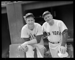Mickey Mantle of the Yankees with his boss, Casey Stengel, at Fenway Park