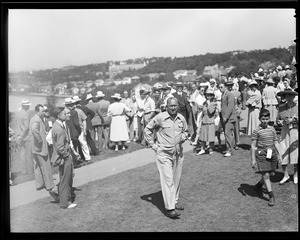 Ty Cobb and crowd at Brae Burn during match with Babe Ruth