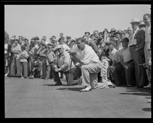 Babe Ruth on green at Commonwealth Country Club during match with Ty Cobb