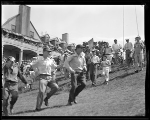 Babe Ruth with crowd, Brae Burn club house, for match with Ty Cobb
