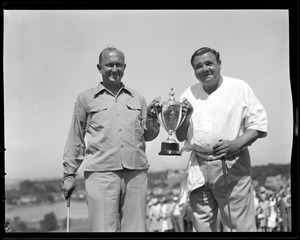 Babe Ruth and Ty Cobb with match cup, Brae Burn country club