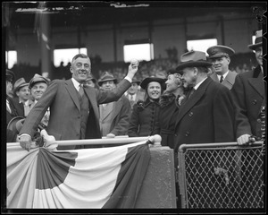 Gov. Saltonstall throws out first ball at Braves Field
