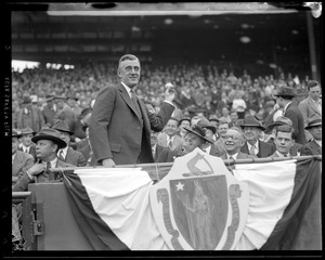 Gov. Saltonstall throws out first ball at Fenway
