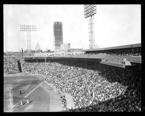 Opening day at Fenway, showing Prudential under construction