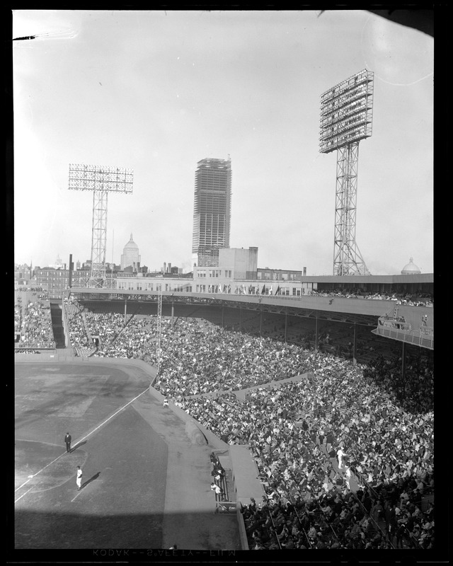 Opening day at Fenway showing Prudential under construction
