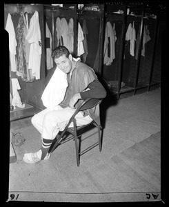 Ted Williams in club house at Fenway