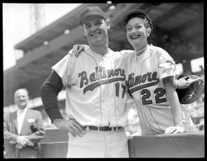 Dorothy Lamour Howard with Walt Dropo of the Orioles at Fenway