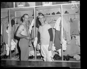 Vern Bickford and Warren Spahn in Braves clubhouse