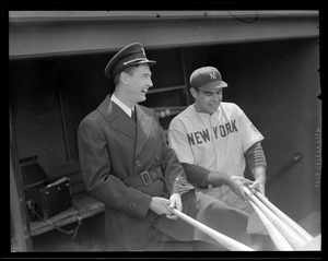 Ted Williams back from service, with Yankee player in Fenway dugout