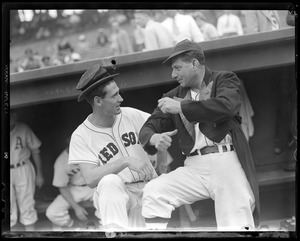 Ted Williams switches hats with baseball clown Al Schacht at All-Star game at Fenway