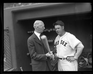 Connie Mack talks to former star Jimmie Foxx at Fenway