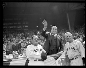 Gov. Dever throws out first ball at Fenway as Joe McCarthy and Casey Stengel look on.