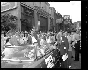 Ted Williams riding in Jimmy Fund car after return from Korean War