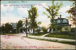Turner house & store, and residence of H.S. Turner (from right to left)