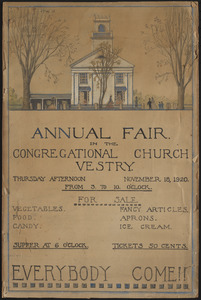Annual fair in the Congregational Church vestry