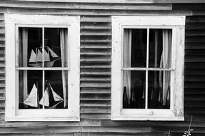 Model sailboats in windows, Monhegan Island, Maine