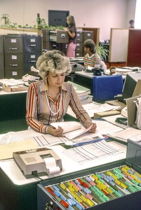 Office manager -- note all-female personnel and absence of computers, Waltham