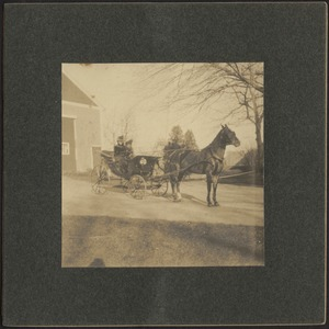 Two women in horse and carriage (possibly Gertrude S. Kunhardt on left)