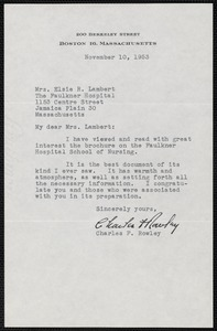 Letter from Charles F. Rowley to Mrs. Elsie R. Lambert