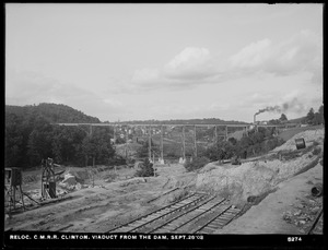 Relocation Central Massachusetts Railroad, viaduct from the dam, Clinton, Mass., Sep. 28, 1903