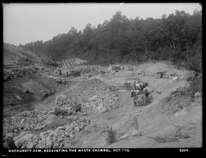 Wachusett Dam, excavating the waste channel, Clinton, Mass., Oct. 1, 1903