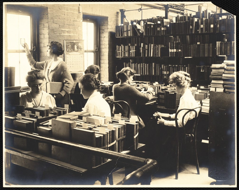 Newton Free Library, Old Main, Centre St. Newton, MA. Interior, Librarians at work in the Technical Services Department, Old Main