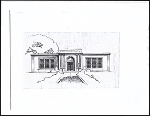 Newton Free Library, Old Main, Centre St. Newton, MA. Pen & ink sketch