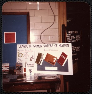 Newton Free Library, Old Main, Centre St. Newton, MA. League of Women Voters exhibit