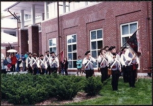 Newton Free Library, 330 Homer St., Newton, MA. Dedication, 9/15/1991. Fife & Drum Corps leaving