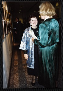 Newton Free Library, 330 Homer St., Newton, MA. 9/14/1991 gala preview, the evening before opening. Virginia Tashjian & unidentified woman