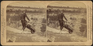 Calverley, the world's champion, crossing the cable over the rapids, Niagara, U. S. A.