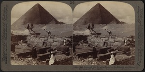 Ruins of the granite temple, the Sphinx and Great Pyramid, Egypt