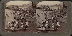 Bathing in the Hoogli river at Calcutta, India