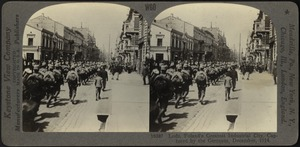 German troops marching through Lodz, Poland, after its capture from the Russians