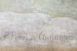"Detail from Physics panel showing signature of ""P. Puvis de Chavannes - Paris 1896."""