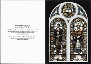 First Parish Church - stained glass window depicting John and Hannah Goddard