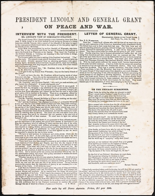 President Lincoln and General Grant on peace and war