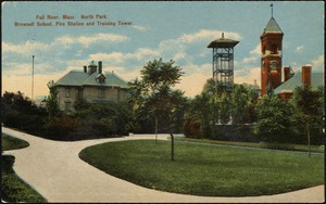 Fall River, Mass. North Park, Brownell School, fire station and training tower