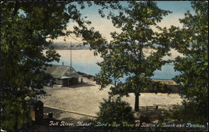 Fall River, Mass. Bird's eye view of Bliffins Beach and pavilion