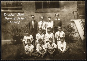 Baseball team Training School Fitchburg. State Normal School Fitchburg, Mass. Edgerly Training School (grades 1-6) baseball team (coached by Normal School student)