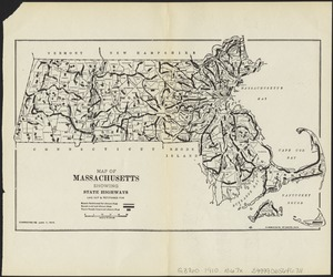 Map of Massachusetts showing state highways laid out & petitioned for