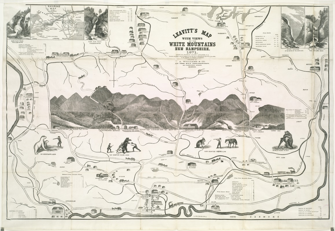 Leavitt's map with views of the White Mountains, New Hampshire