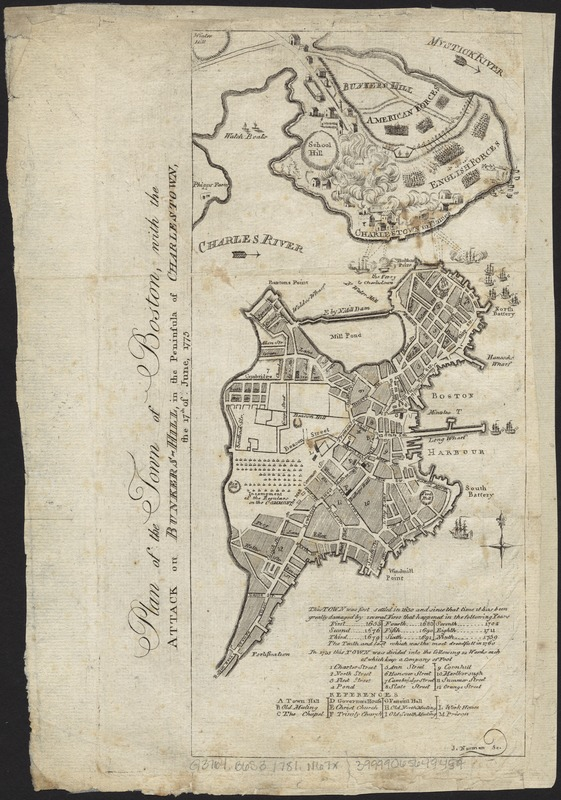 Plan of the town of Boston, with the attack on Bunkers-Hill, in the peninsula of Charlestown, the 17th of June, 1775