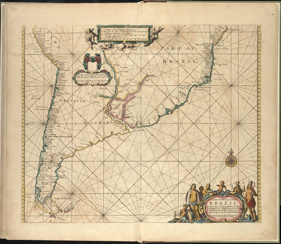 A chart of the sea coast of Brazil from Cape St. Augustine to the straights of Magellan, & in the South Sea, from the latitud of eight degrees, to the said straights
