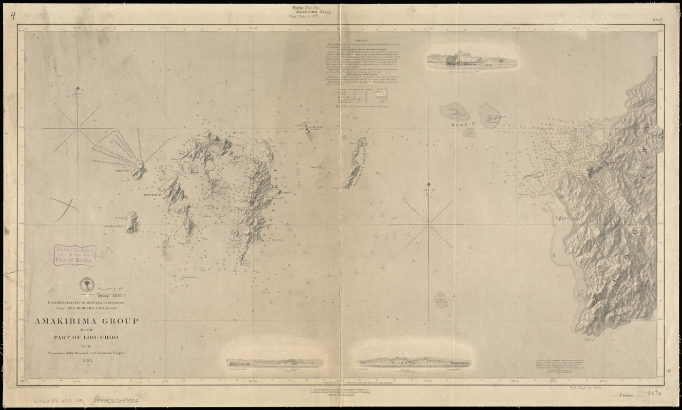U.S. North Pacific Surveying Expedition ... Amakirima Group with part of Loo-Choo by the Vincennes, John Hancock and Fenimore Cooper, 1855
