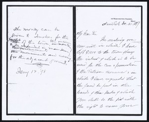 Copy of original letter from Prof. Thomas Egleston to Wm. Curtis regarding the establishment of a trust for the care and maintenance of the Paterson-Egleston Monument