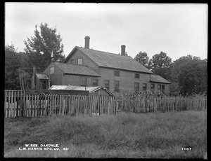 Wachusett Reservoir, L. M. Harris Manufacturing Company's house, the most westerly house on the northerly side of Holden Street, from the northeast, Oakdale, West Boylston, Mass., Aug. 12, 1898