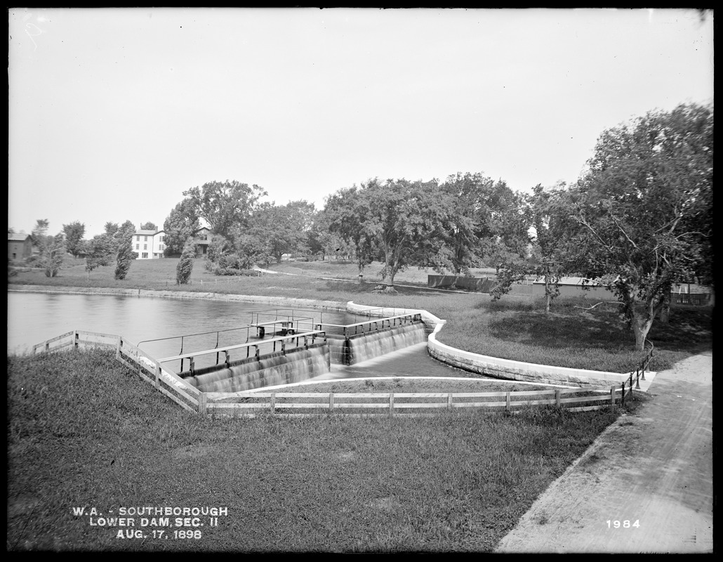 Sudbury Reservoir, Section 11, Lower Dam (Sawin's Mills), from the south in Sawin's Mills Road; taken from the top of repair wagon, Southborough, Mass., Aug. 17, 1898
